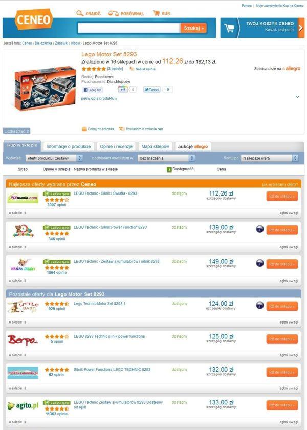 Wyniki wyszukiwania na Ceneo