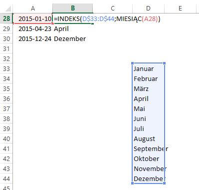 Excel - nazwy miesięcy funkcją INDEKS, tabela w komórkach