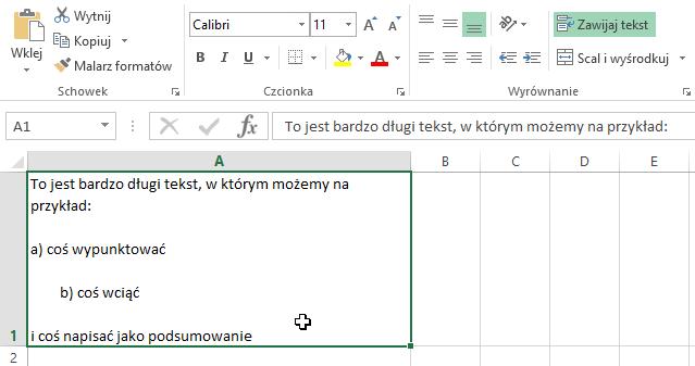 Zawijanie Tekstu łamanie Wierszy W Excelu