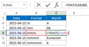 Nazwa miesiąca w Excelu przy pomocy funkcji TEKST i formatu