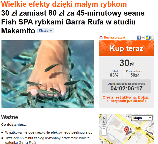 Peeling stóp rybkami Garra Rufa