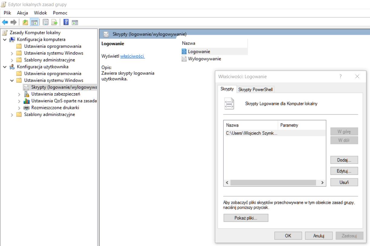 Uruchamianie skryptu logowania poprzez gpedit.msc w Windows