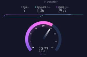 Wolny download, szybki upload przez Wi-Fi w Windows 10 w SpeedTest.net