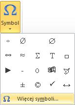 Wstawianie symbolu Microsoft Word - okienko podręczne